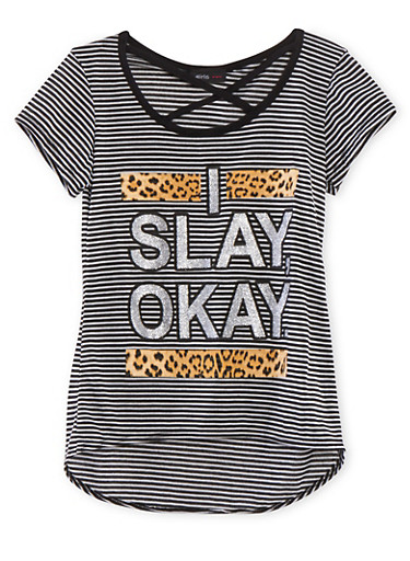 Girls 7-16 Striped Tee with Lattice Scoop Neckline and Slay Graphic,BLACK/INDIGO,large
