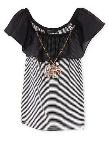 Girls 7-16 Off the Shoulder Striped Top with Ruffle and Necklace,BLACK,large