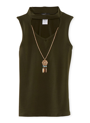 Girls 7-16 Cutout Mock Neck Tank Top with Necklace,OLIVE,large