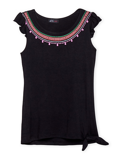 Girls 7-16 Graphic Neckline Top with Cap Sleeves,BLACK,large