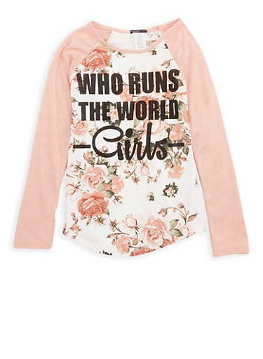 Girls 7-16 Floral Graphic Top,BLUSH,large