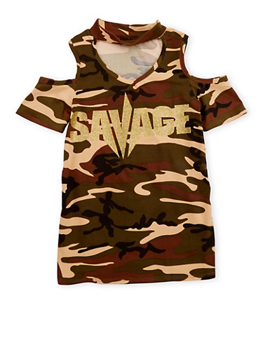 Girls 7-16 Camo Cold Shoulder Glitter Graphic Top,CAMO,large