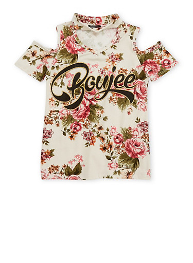 Girls 7-16 Floral Cold Shoulder Graphic Top,IVORY/ROSE,large