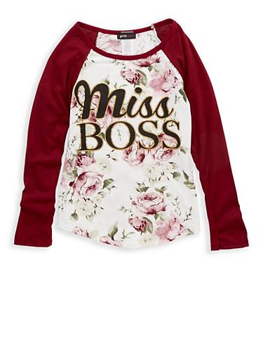 Girls 7-16 Miss Boss Floral Print Top,BURG/IVY,large