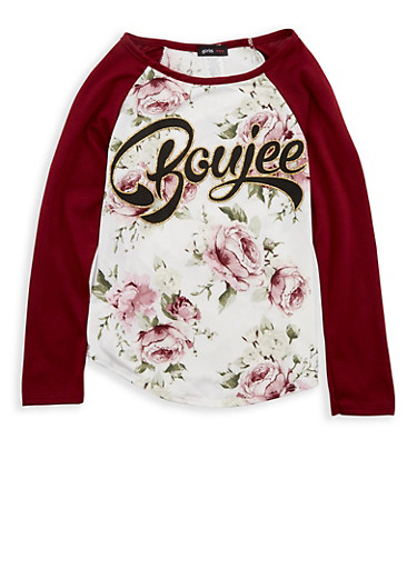 Girls 7-16 Floral Graphic Print Top,BURG/IVY,large