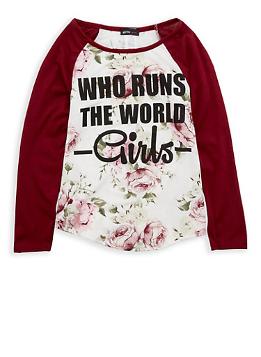 Girls 7-16 Floral Graphic Top,BURG/IVY,large