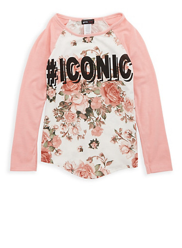 Girls 7-16 Floral Iconic Graphic Print Top,BLUSH/IVY,large
