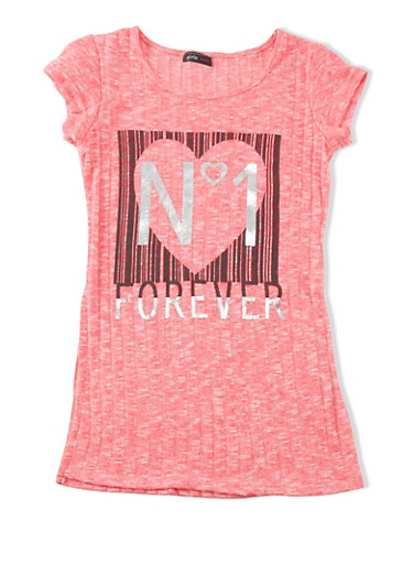 Girls 7-16 Pink No. 1 Forever Heart Graphic Marled Rib-Knit Top,NEON PINK,large