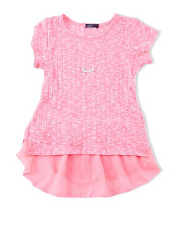 Girls 7-16 Short Sleeve Marled Rib Knit Top With Back Ruffle Accent And Detachable Necklace,NEON PINK,large
