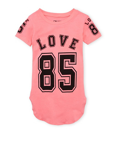 Girls 7-16 Tunic Top with Love Print,NEON PINK,large