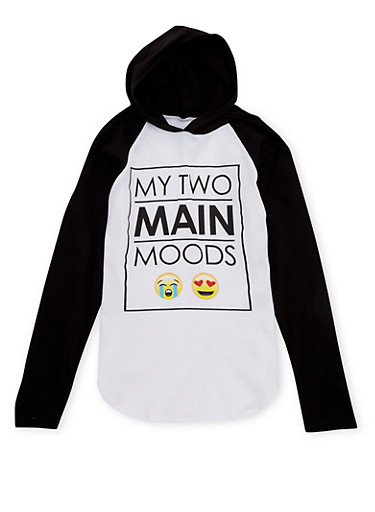 Girls 7-16 Hoodie with Moods Graphic,BLACK,large