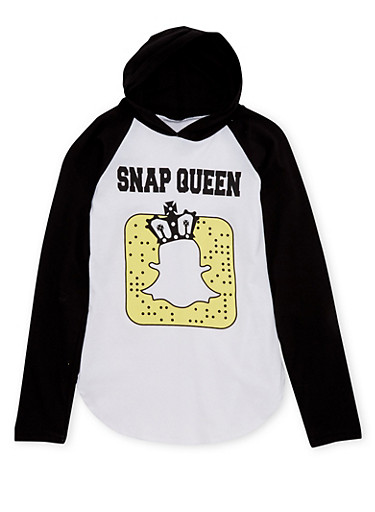 Girls 7-16 Hoodie with Snap Queen Graphic,BLACK,large