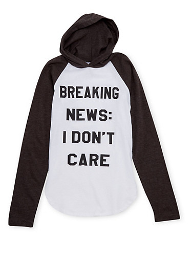 Girls 7-16 Hooded Top with I Dont Care Graphic,CHARCOAL,large
