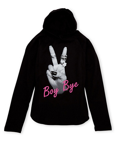 Girls 7-16 Hoodie with Boy Bye Graphic,BLACK,large