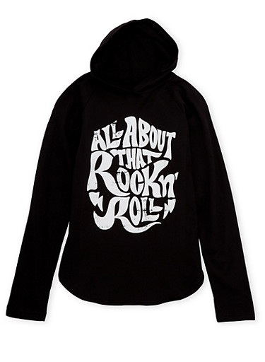 Girls 7-16 Hoodie with Rock N Roll Graphic,BLACK,large