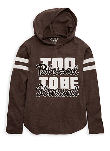 Girls 7-16 Too Blessed Graphic Hooded Top,CHARCOAL,large
