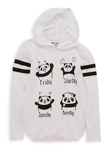 Girls 7-16 Panda Weekend Graphic Hooded Top,WHITE,large