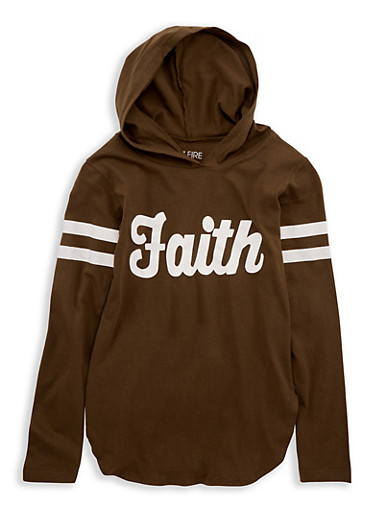 Girls 7-16 Faith Graphic Hooded Top,OLIVE,large