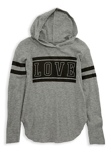 Girls 7-16 Love Graphic Hooded Top,HEATHER,large