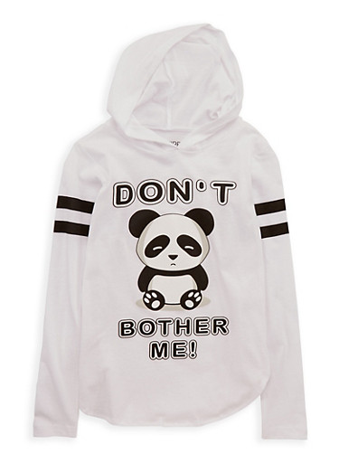 Girls 7-16 Dont Bother Me Panda Graphic Top,WHITE,large