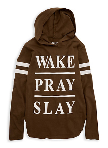 Girls 7-16 Wake Pray Slay Graphic Hooded Top,OLIVE,large