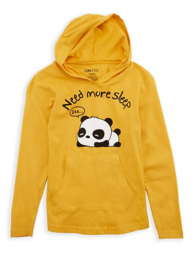 Girls 7-16 Panda Graphic Hooded Top,MUSTARD,large
