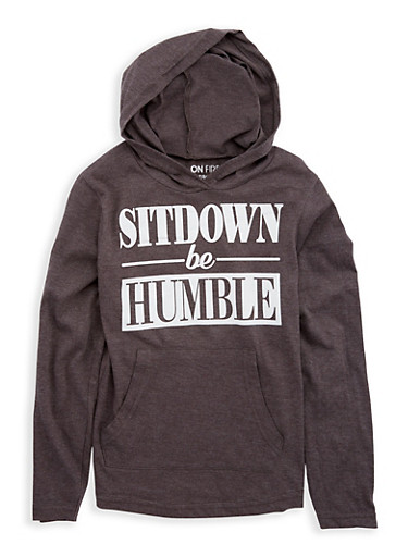 Girls 7-16 Humble Graphic Hooded Top,CHARCOAL,large