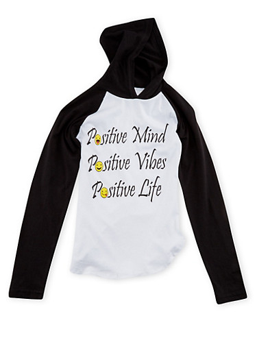 Girls 7-16 Hooded Raglan Top with Positive Vibes Print,BLACK,large