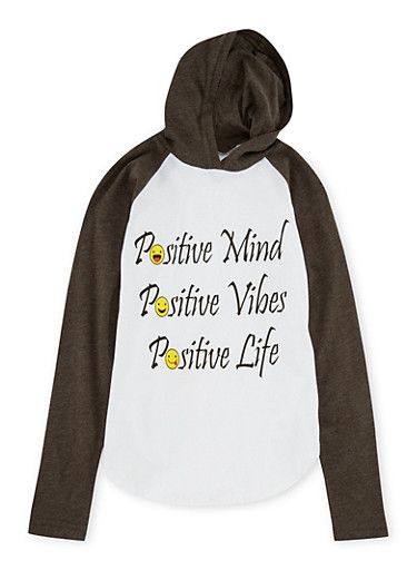 Girls 7-16 Hooded Top with Positive Vibes Emoji,CHARCOAL,large