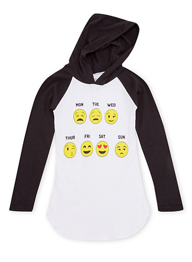 Girls 7-12 Color Block Hooded Top with Emoji Graphic,BLACK,large