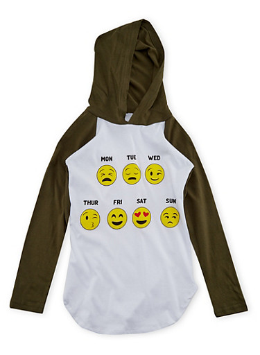 Girls 7-16 Hooded Top with Days of the Week Emoji Graphic,WHITE,large