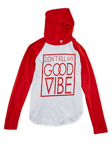 Girls 7-16 Hooded Top with Good Vibe Graphic,RED,large