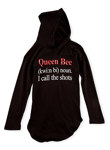 Girls 7-16 Graphic Hoodie with Queen Bee Print,BLACK,large