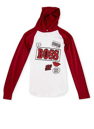 Girls 7-16 Hooded Top with Boss Graphic,WINE,large