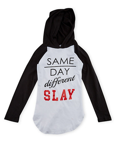 Girls 7-16 Hooded Top with Same Day Different Slay Print,BLACK/WHITE,large