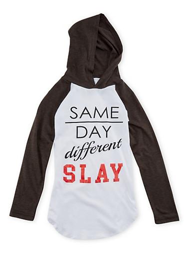 Girls 7-16 Hooded Raglan Top with Slay Print,WHITE,large