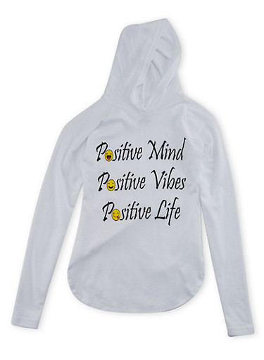 Girls 7-16 Hooded Long Sleeve Top with Positive Print,WHITE,large