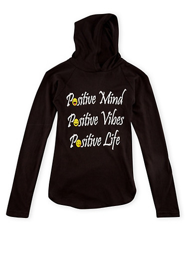 Girls 7-16 Graphic Hoodie with Positive Print,BLACK,large