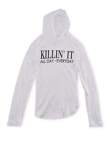 Girls 7-16 Hooded Top with Killin It Graphic,WHITE,large