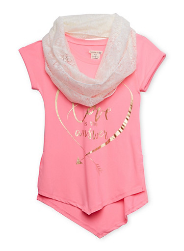 Girls 7-16 Graphic Tunic Top with Lace Infinity Scarf,PINK,large