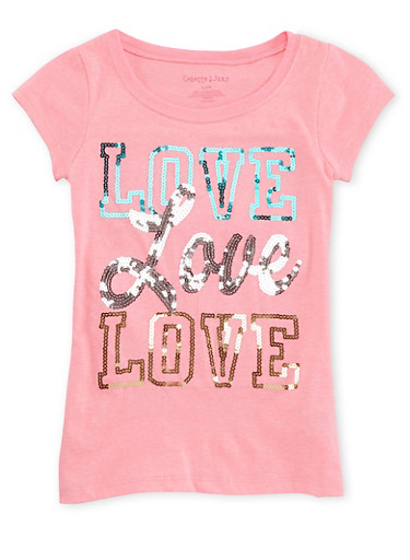 Girls 7-16 Crew Neck Top with Love Print in Sequins,PINK,large