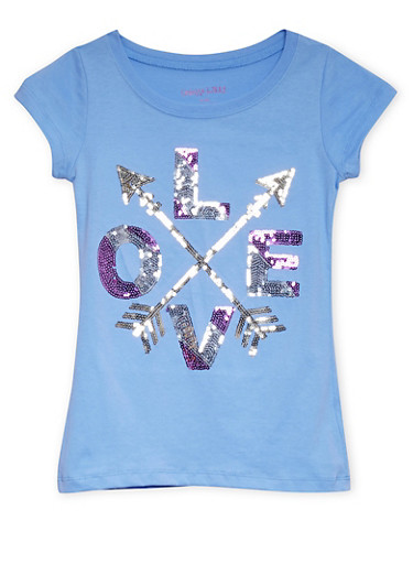 Girls 7-16 Crew Neck Top with Sequined Love Graphic,BLUE,large