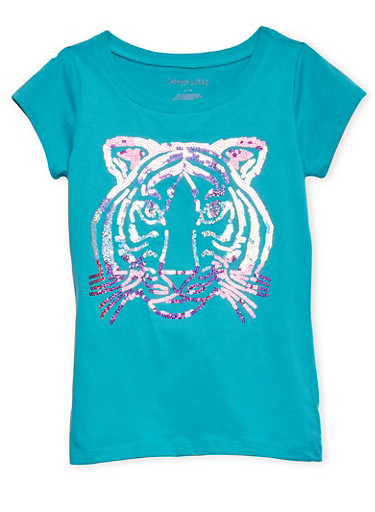 Girls 7-16 Tee with Sequin Tiger Graphic,JADE,large