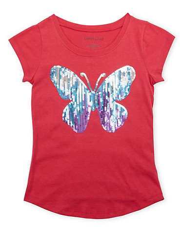 Girls 7-16 Tee with Sequined Butterfly and Crew Neck,FUCHSIA,large