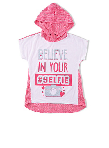 Girls 7-16 Believe In Your Selfie Camera Graphic Marled Knit High-Low Top,FUCHSIA,large