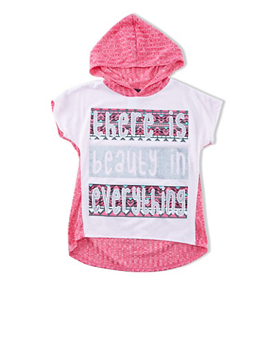 Girls Beauty in Everything Graphic Top With Hood And High-Low Hem,FUCHSIA,large