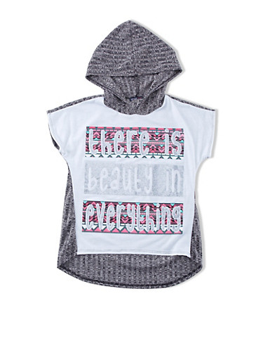 Girls 7-16 There Is Beauty In Everything Aztec Graphic High-Low Hooded Top,BLACK,large