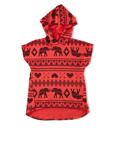 Girls 7-16 Assorted Tribal Print High-Low Hooded Top,CORAL,large