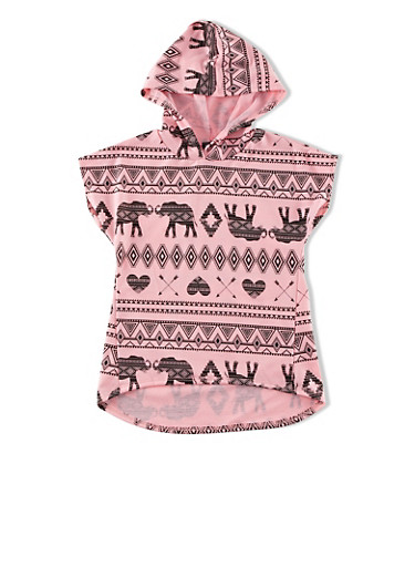 Girls 7-16 Tribal Elephant And Hearts Graphic High-Low Hooded Top,PINK,large