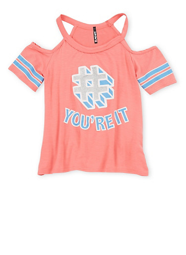 Girls 7-16 Graphic Cold Shoulder Top,CORAL,large